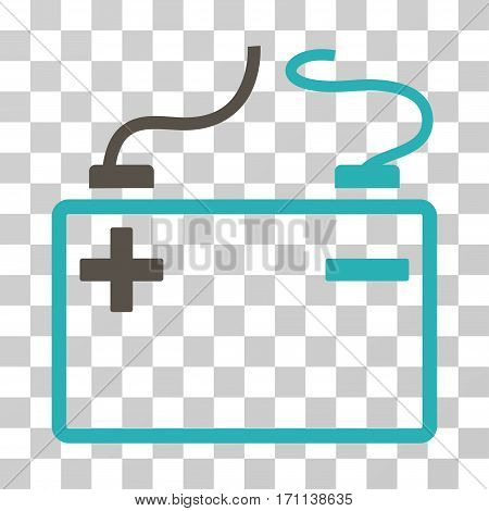 Accumulator icon. Vector illustration style is flat iconic bicolor symbol grey and cyan colors transparent background. Designed for web and software interfaces.