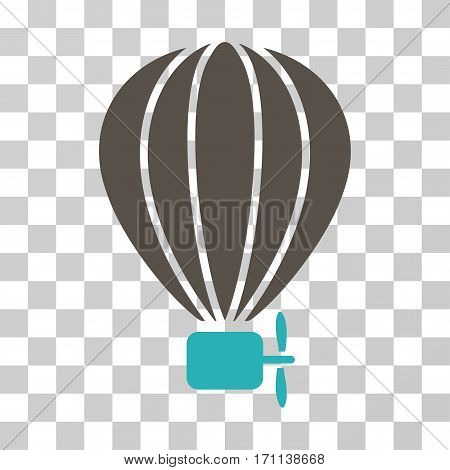 Aerostat Balloon icon. Vector illustration style is flat iconic bicolor symbol grey and cyan colors transparent background. Designed for web and software interfaces.