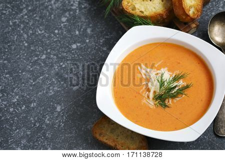 Tomato soup in plate copy space. Zuppa di Pomodoro