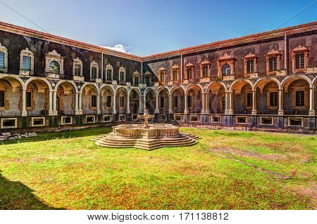 Cloister of the Benedictine Monastery of San Nicolo l'Arena in Catania, Sicily, Italy, - a jewel of the late Sicilian Baroque style.