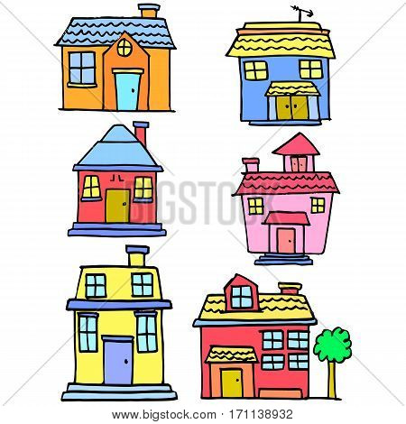 Vector art of house colorful style collection stock
