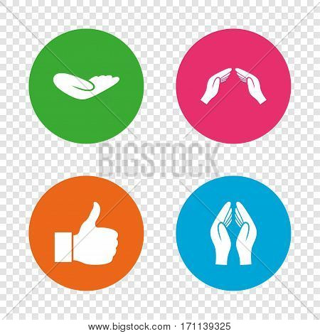Hand icons. Like thumb up symbol. Insurance protection sign. Human helping donation hand. Prayer hands. Round buttons on transparent background. Vector