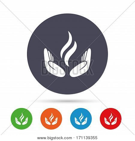 Energy hands sign icon. Power from hands symbol. Round colourful buttons with flat icons. Vector