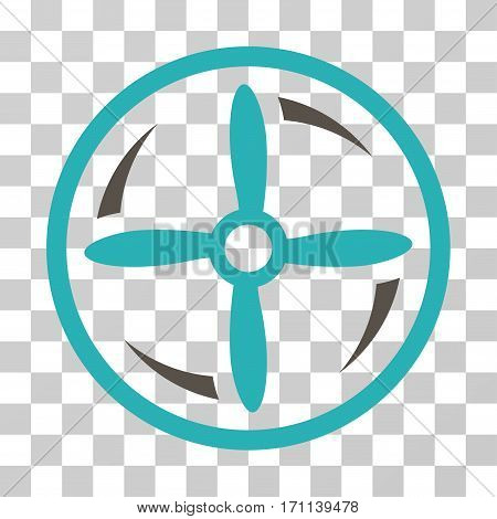 Drone Screw Rotation icon. Vector illustration style is flat iconic bicolor symbol grey and cyan colors transparent background. Designed for web and software interfaces.