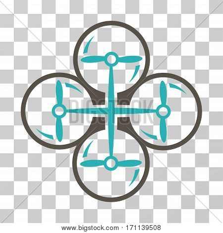 Drone Screws icon. Vector illustration style is flat iconic bicolor symbol grey and cyan colors transparent background. Designed for web and software interfaces.