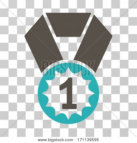 First Place Medal icon. Vector illustration style is flat iconic bicolor symbol grey and cyan colors transparent background. Designed for web and software interfaces.