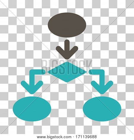 Flowchart icon. Vector illustration style is flat iconic bicolor symbol grey and cyan colors transparent background. Designed for web and software interfaces.