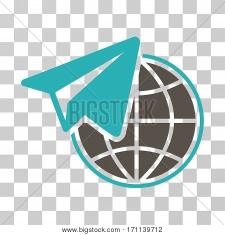 Freelance icon. Vector illustration style is flat iconic bicolor symbol grey and cyan colors transparent background. Designed for web and software interfaces.