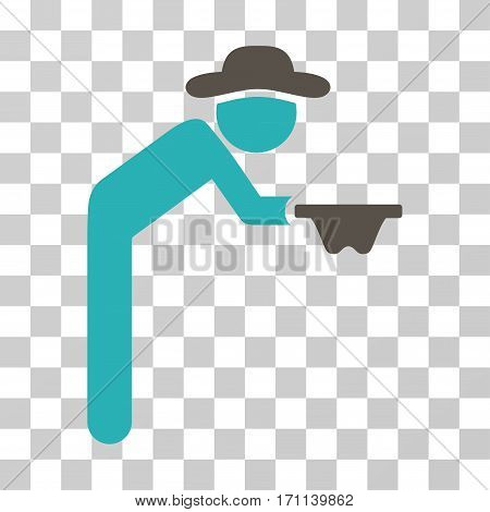 Gentleman Beggar icon. Vector illustration style is flat iconic bicolor symbol grey and cyan colors transparent background. Designed for web and software interfaces.