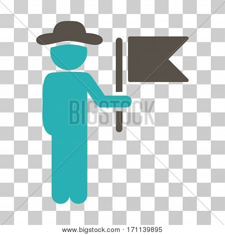 Gentleman Commander icon. Vector illustration style is flat iconic bicolor symbol grey and cyan colors transparent background. Designed for web and software interfaces.