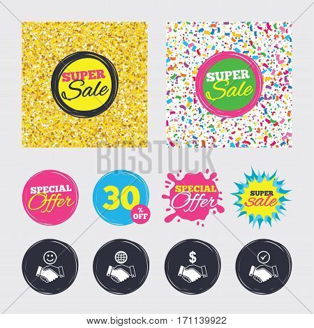 Gold glitter and confetti backgrounds. Covers, posters and flyers design. Handshake icons. World, Smile happy face and house building symbol. Dollar cash money. Amicable agreement. Sale banners