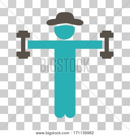 Gentleman Fitness icon. Vector illustration style is flat iconic bicolor symbol grey and cyan colors transparent background. Designed for web and software interfaces.