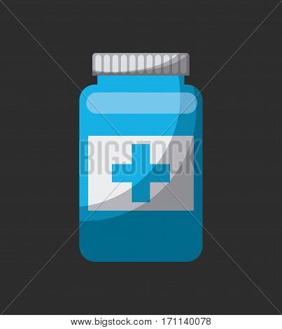 medicine bottle icon over black background. colorful design. vector illustration