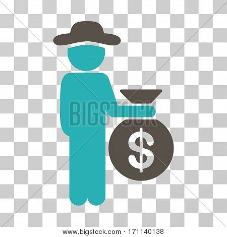 Gentleman Investor icon. Vector illustration style is flat iconic bicolor symbol grey and cyan colors transparent background. Designed for web and software interfaces.