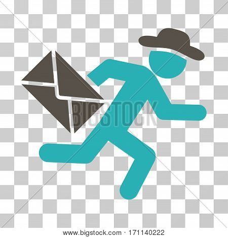 Gentleman Mail Courier icon. Vector illustration style is flat iconic bicolor symbol grey and cyan colors transparent background. Designed for web and software interfaces.