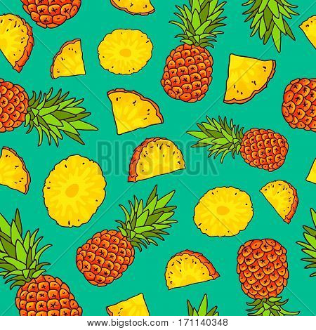 Vector seamless pattern of pineapples on a blue background. Summer time concept. Paradise fruit. Wrapping paper.