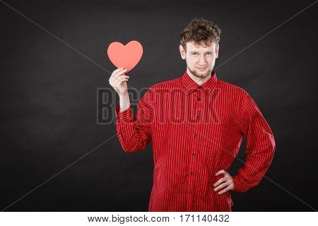 Boy In Love With Red Heart.