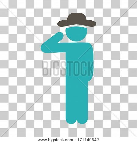 Gentleman Salute icon. Vector illustration style is flat iconic bicolor symbol grey and cyan colors transparent background. Designed for web and software interfaces.