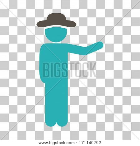 Gentleman Show icon. Vector illustration style is flat iconic bicolor symbol grey and cyan colors transparent background. Designed for web and software interfaces.