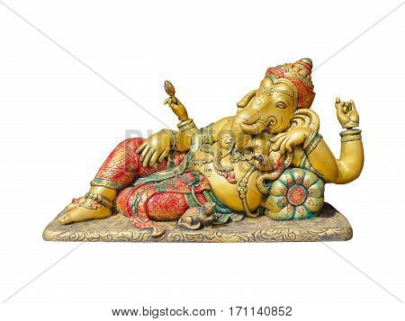Golden Hindu God Ganesha Lord of Success isolate on white background