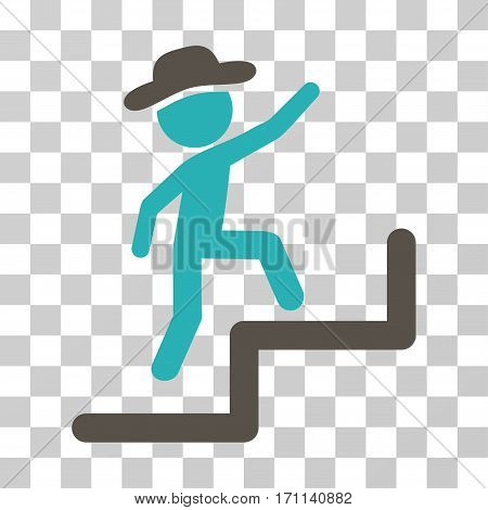 Gentleman Steps Upstairs icon. Vector illustration style is flat iconic bicolor symbol grey and cyan colors transparent background. Designed for web and software interfaces.