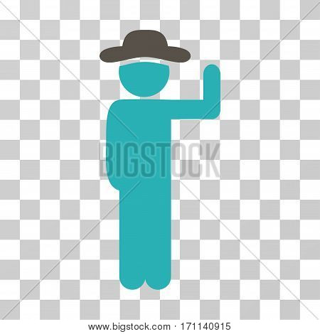 Gentleman Vote icon. Vector illustration style is flat iconic bicolor symbol grey and cyan colors transparent background. Designed for web and software interfaces.