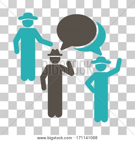 Gentlemen Discussion icon. Vector illustration style is flat iconic bicolor symbol grey and cyan colors transparent background. Designed for web and software interfaces.