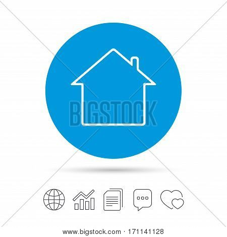 Home sign icon. Main page button. Navigation symbol. Copy files, chat speech bubble and chart web icons. Vector
