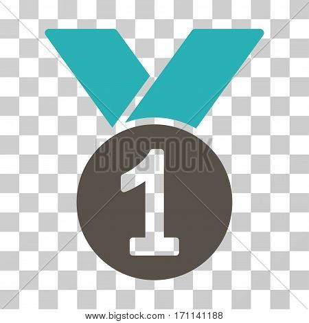 Gold Medal icon. Vector illustration style is flat iconic bicolor symbol grey and cyan colors transparent background. Designed for web and software interfaces.
