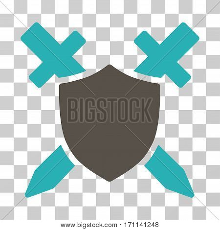 Guard Shield icon. Vector illustration style is flat iconic bicolor symbol grey and cyan colors transparent background. Designed for web and software interfaces.