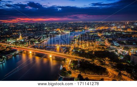 Thonburi Bangkok and Chao Phraya River from top view see the pagoda wat arun wat pho and wat phra kaeaw in Bangkok Thailand
