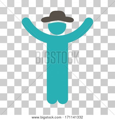 Hands Up Gentleman icon. Vector illustration style is flat iconic bicolor symbol grey and cyan colors transparent background. Designed for web and software interfaces.