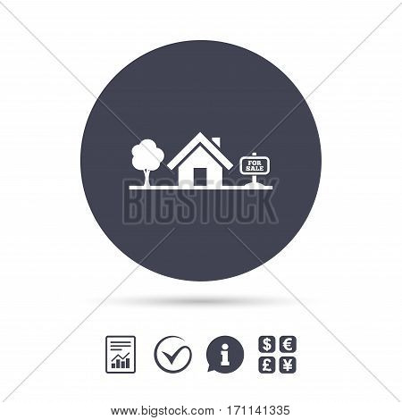 Home sign icon. House for sale. Broker symbol. Report document, information and check tick icons. Currency exchange. Vector