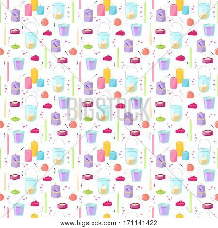 Candles seamless pattern vector fun anniversary graphic. Wax mystery celebrate festive symbols background. Congratulations cheerful holiday art element.