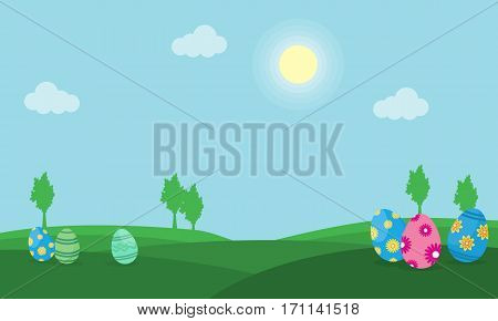 Easter egg on hill landscape vector collection stock