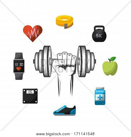 hand holding a dumbbell and healthy lifestyle concept icons around over white background. colorful design. vector illustration