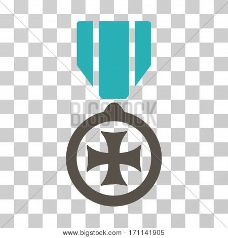 Maltese Cross icon. Vector illustration style is flat iconic bicolor symbol grey and cyan colors transparent background. Designed for web and software interfaces.
