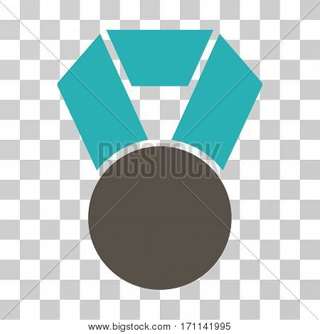 Medal icon. Vector illustration style is flat iconic bicolor symbol grey and cyan colors transparent background. Designed for web and software interfaces.