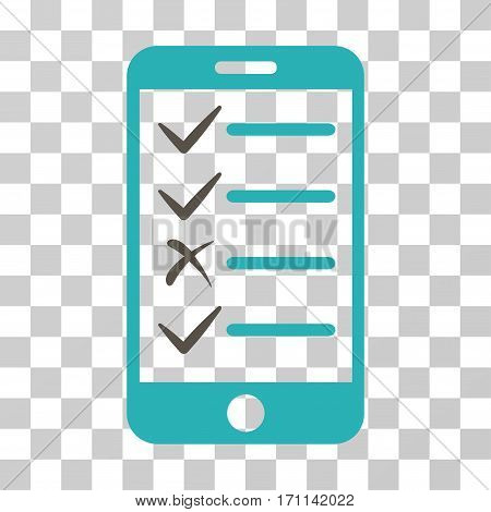 Mobile Tasks icon. Vector illustration style is flat iconic bicolor symbol grey and cyan colors transparent background. Designed for web and software interfaces.