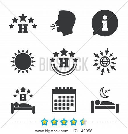 Five stars hotel icons. Travel rest place symbols. Human sleep in bed sign. Information, go to web and calendar icons. Sun and loud speak symbol. Vector