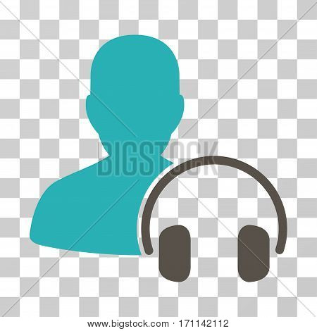 Operator icon. Vector illustration style is flat iconic bicolor symbol grey and cyan colors transparent background. Designed for web and software interfaces.