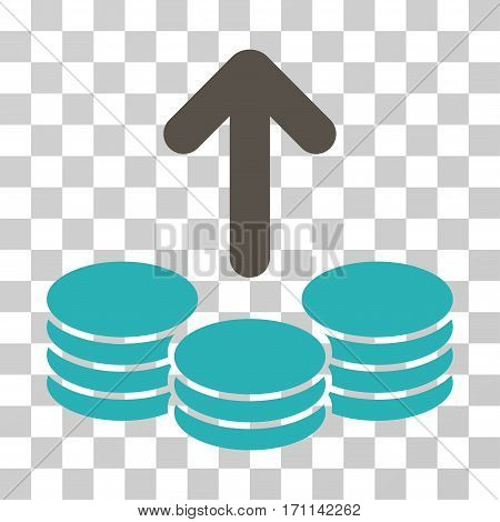 Payout Coins icon. Vector illustration style is flat iconic bicolor symbol grey and cyan colors transparent background. Designed for web and software interfaces.