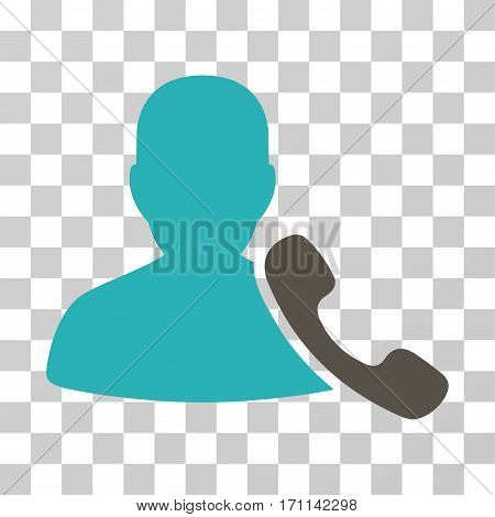 Phone Support icon. Vector illustration style is flat iconic bicolor symbol grey and cyan colors transparent background. Designed for web and software interfaces.