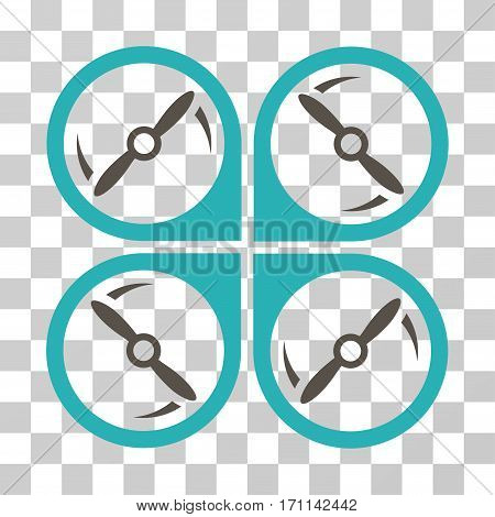 Quadcopter Screws Rotation icon. Vector illustration style is flat iconic bicolor symbol grey and cyan colors transparent background. Designed for web and software interfaces.