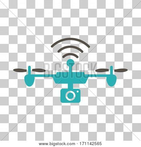 Radio Camera Airdrone icon. Vector illustration style is flat iconic bicolor symbol grey and cyan colors transparent background. Designed for web and software interfaces.
