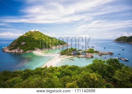 Nang yuan island option for travel koh samui koh tao koh Pangan tranportation by speed boat blue sea rock and place for diving in Thailand poster