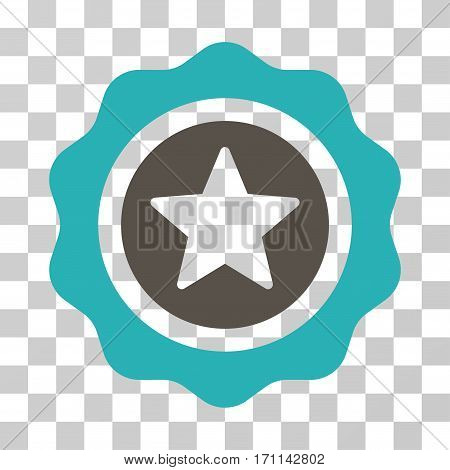 Reward Seal icon. Vector illustration style is flat iconic bicolor symbol grey and cyan colors transparent background. Designed for web and software interfaces.