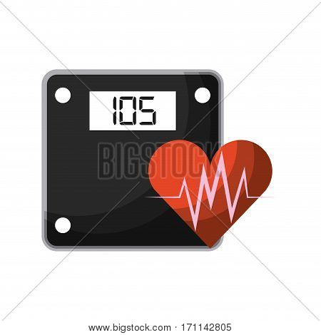 weight scale device  and cardio heart icon over white background. healthy lifestyle concept. colorful design. vector illustration