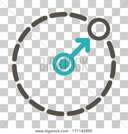Round Area Border icon. Vector illustration style is flat iconic bicolor symbol grey and cyan colors transparent background. Designed for web and software interfaces.