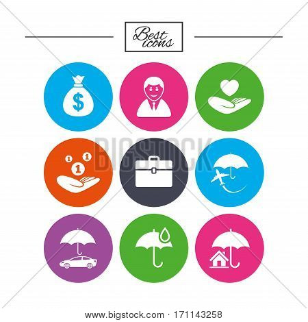Insurance icons. Life, Real estate and House signs. Saving money, vehicle and umbrella symbols. Classic simple flat icons. Vector